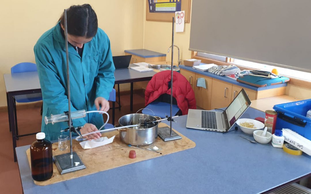 An IB Student in the chemistry lab.